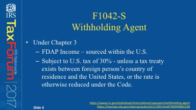 F1042/F1042S compliance - Chapter 1 | IRS Nationwide Tax